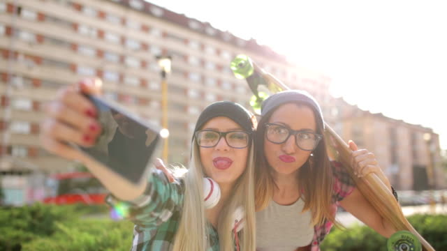 Hipster girlfriends funny selfie