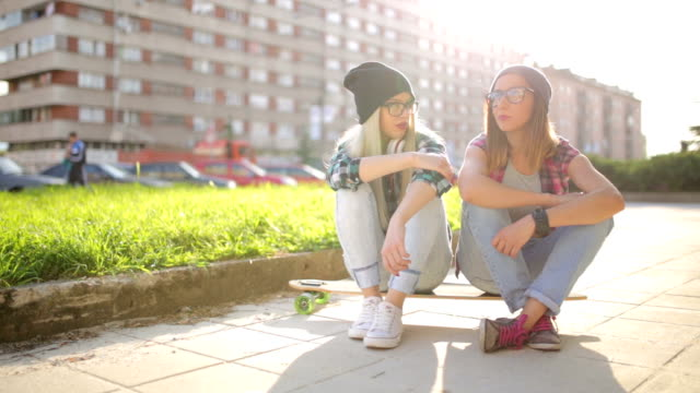 hipster girls having fun - longboarding stock videos & royalty-free footage