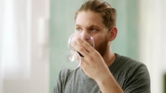 hipster man drinking red wine and contemplating - bicchiere da vino video stock e b–roll