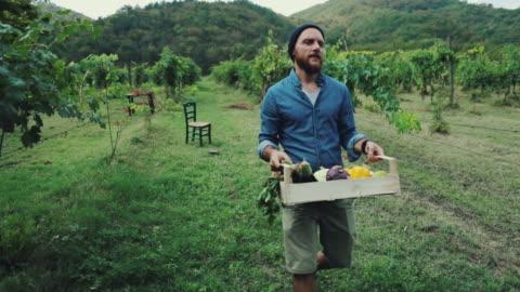 vídeos y material grabado en eventos de stock de hombre inconformista con la caja de la tienda de comestibles - campesino