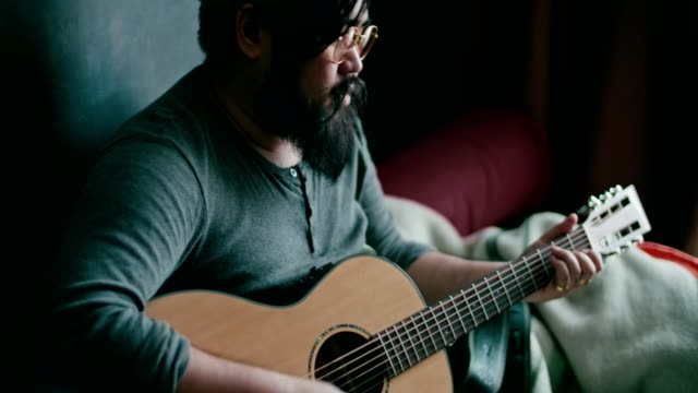 hipster men relish with guiter - artist stock videos & royalty-free footage