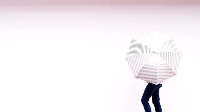 hipster niche person with white simple umbrella with rainy season-hipster woman