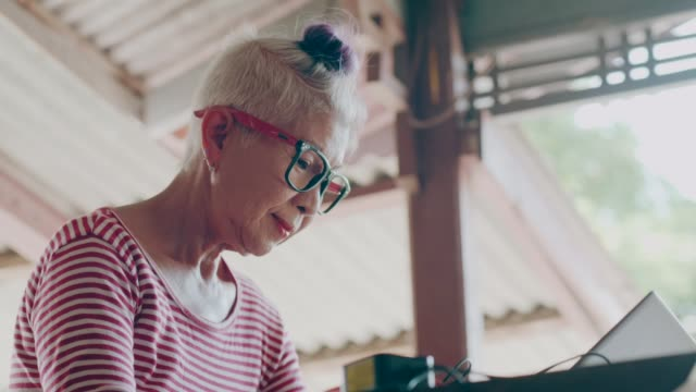 hipster senior woman working with computer at home stock vdo - 60 64 years stock videos & royalty-free footage