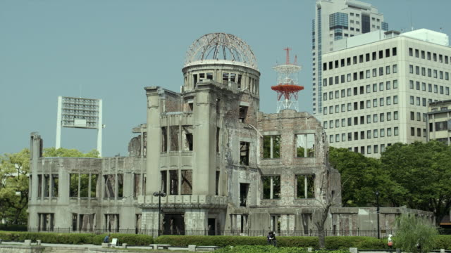 ws hiroshima peace memorial (commonly called atomic bomb dome or a-bomb dome), hiroshima peace memorial park, hiroshima, japan - hydrogen bomb stock videos and b-roll footage