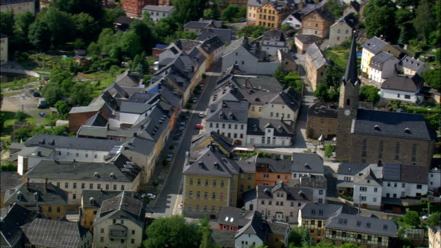 hirschberg  - aerial view - thuringia,  germany - turingia video stock e b–roll