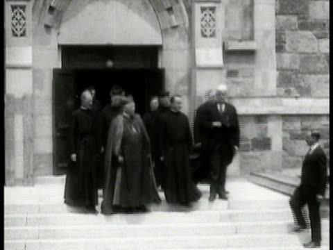 his eminence william henry cardinal o'connell archbishop of boston walking out of church standing talking outside church w/ other clergymen - 1935 stock videos and b-roll footage