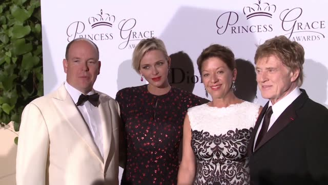 his serene highness prince albert ii her serene highness princess charlene on monaco sibylle szaggars redford robert redford at the 2015 princess... - monaco stock-videos und b-roll-filmmaterial