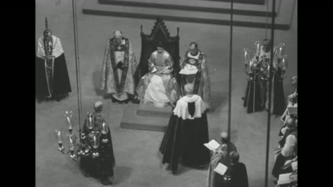 hi-shots interior westminster abbey: elizabeth sits in the coronation chair, king edwardís chair, under canopy held by knights of the garter, flanked... - wisdom stock-videos und b-roll-filmmaterial
