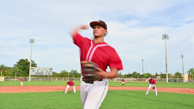 hispanic baseball pitcher in windup and throwing - baseball pitcher stock videos & royalty-free footage