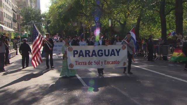 hispanic day parade nyc paraguyan float at the hispanic day parade on october 13 2013 in new york new york - bandiera dell'argentina video stock e b–roll