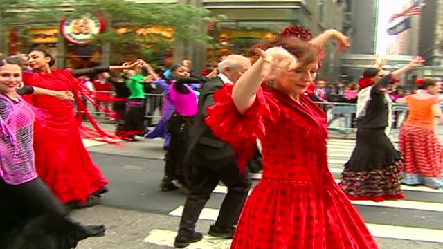 hispanic day parade nyc spanish tango dancers at the hispanic day parade on october 13, 2013 in new york, new york - tangoing stock videos & royalty-free footage