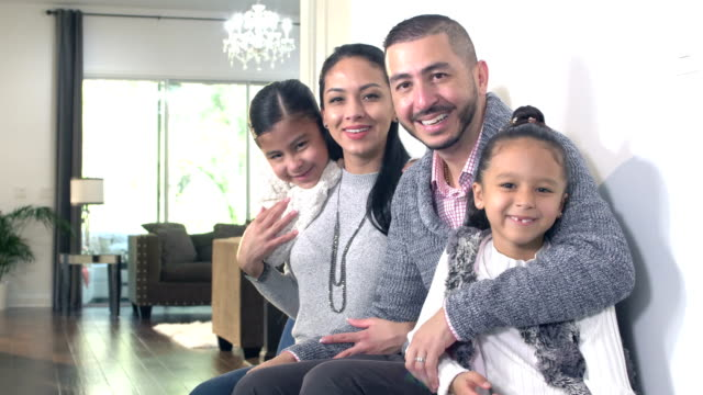 hispanic family with two girls at home - 6 7 years stock videos & royalty-free footage