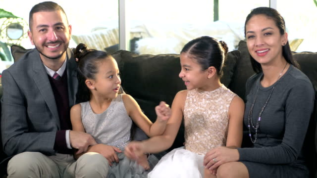 hispanic family with two girls dressed for a party - 6 7 years stock videos & royalty-free footage