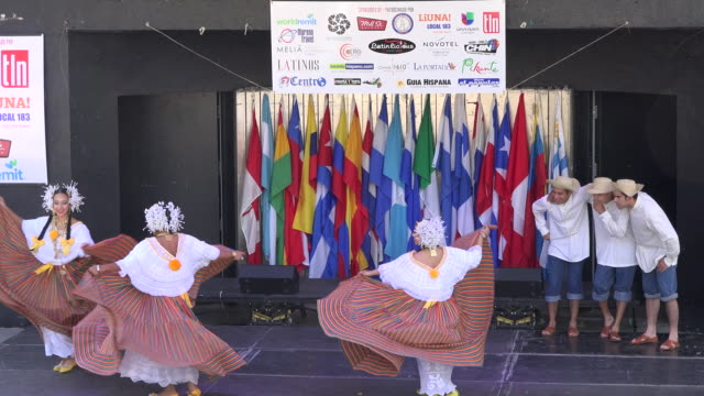 Panamanian Roots Dance Group performing a traditional folkloric dance in stage