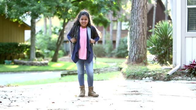 hispanic girl ready for elementary school - full length stock videos & royalty-free footage