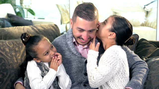 hispanic girls sharing secrets with father - 6 7 years stock videos & royalty-free footage