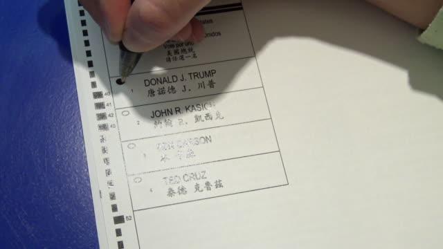 hispanic woman manually filling out voter affidavit during the presidential primary elections / woman chooses presidential candidate donald trump /... - valurna bildbanksvideor och videomaterial från bakom kulisserna