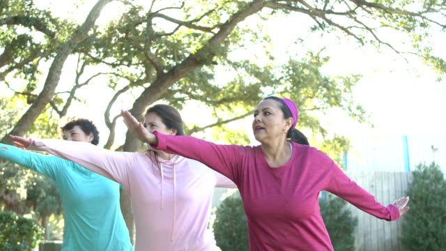 hispanic women in park practicing tai chi - 50 59 years stock videos & royalty-free footage