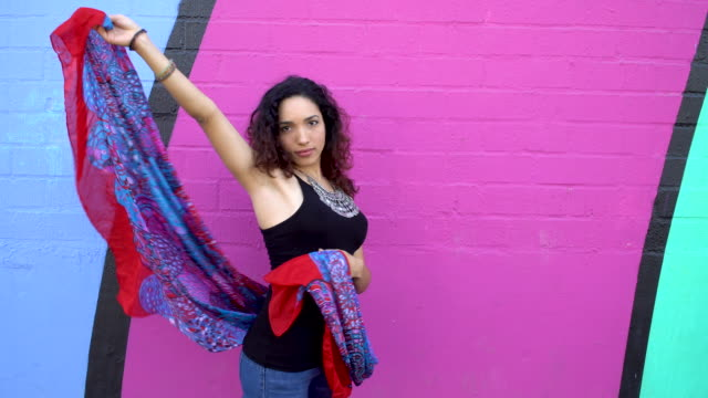 Hispanic Young woman with Dancing with Shawl