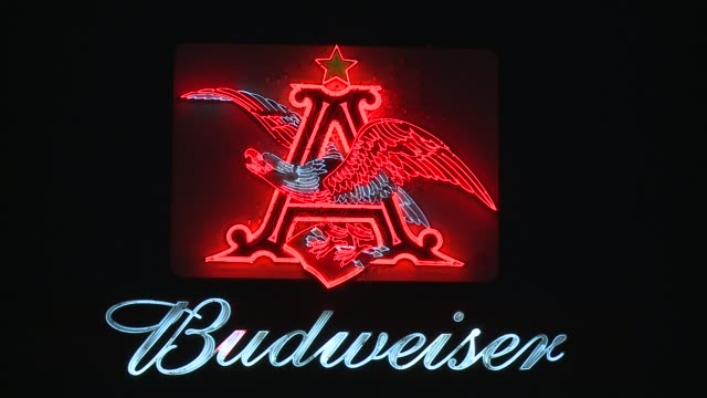 historic budweiser billboard in st louis missouri classic budweiser billboard lights up highway on december 20 2011 in saint louis missouri - anheuser busch brewery missouri stock videos and b-roll footage