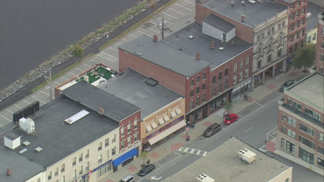 aerial historic buildings in downtown commercial district / augusta, maine, united states - augusta maine stock videos & royalty-free footage