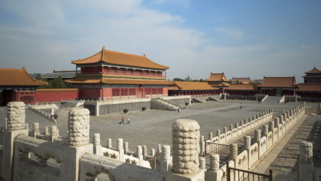 historic buildings in forbidden city against sky - beijing, china - forbidden city stock videos & royalty-free footage