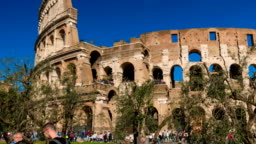 Historic Centre of Rome, View of Colosseum in hyperlapse, Rome, Italy