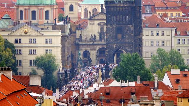 historic charles bridge in prague, czech republic - stare mesto stock videos & royalty-free footage