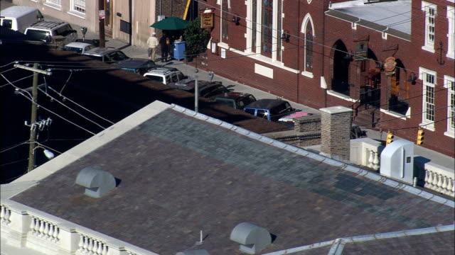 historic charleston city market - aerial view - south carolina,  united states - history stock videos & royalty-free footage