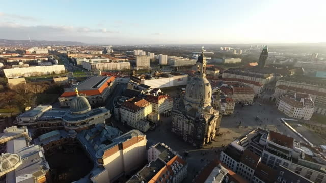 historic city center, including the albertinum and frauenkirche church, is seen on january 18, 2015 in dresden, germany. the city center, including... - 70周年点の映像素材/bロール