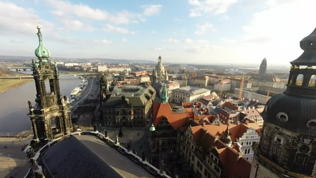 historic city center, including the catholic hofkirche church and residenzschloss dresden palace, is seen on january 18, 2015 in dresden, germany.... - 70周年点の映像素材/bロール