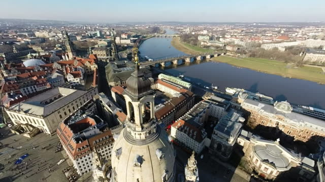 historic city center, including the frauenkirche church, is seen on january 18, 2015 in dresden, germany. the city center, including the... - dresden frauenkirche stock videos & royalty-free footage