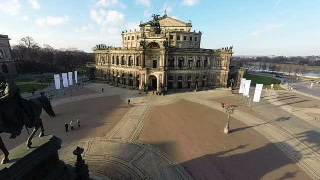 historic city center, including theaterplatz square and the semperoper opera hall, is seen on january 18, 2015 in dresden, germany. the city center,... - 70周年点の映像素材/bロール