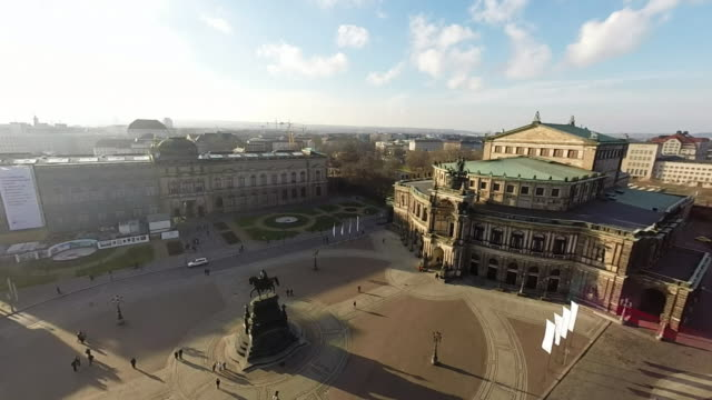 historic city center, including theaterplatz square and the semperoper opera hall, is seen on january 18, 2015 in dresden, germany. the city center,... - dresden frauenkirche stock videos & royalty-free footage