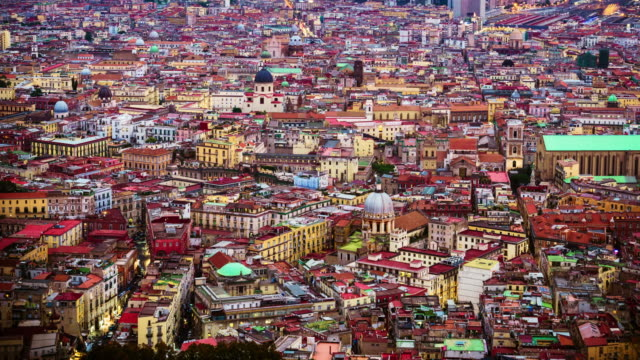 historic city of naples, italy downtown cityscape, timelapse - ナポリ点の映像素材/bロール