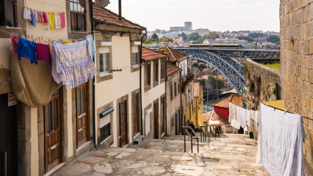 ms historic city of porto and ponte luís i bridge - portugal stock videos & royalty-free footage