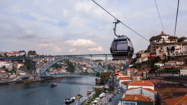 ms historic city of porto and teleférico de gaia - overhead cable car stock videos and b-roll footage