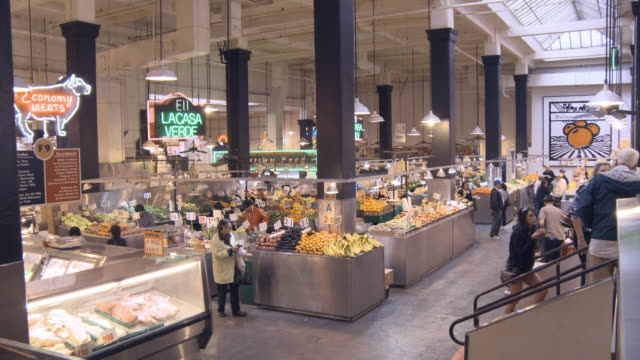 WS of historic Grand Central Market on ground floor of Homer Laughlin Building built in 1917 and continuously operational since  /Los Angeles, California, USA