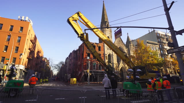 historic middle collegiate church destroyed by fire from neighbor building early saturday morning on december 05 2020. the next day of the fire,... - next to stock videos & royalty-free footage
