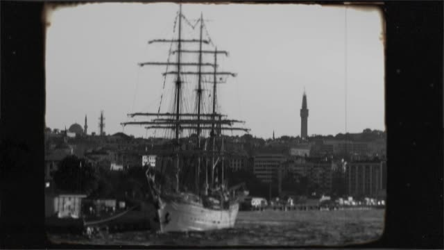 historic old sailing frigate in the bosphorus, istanbul. 8mm old nostalgic footage. - antique stock videos & royalty-free footage