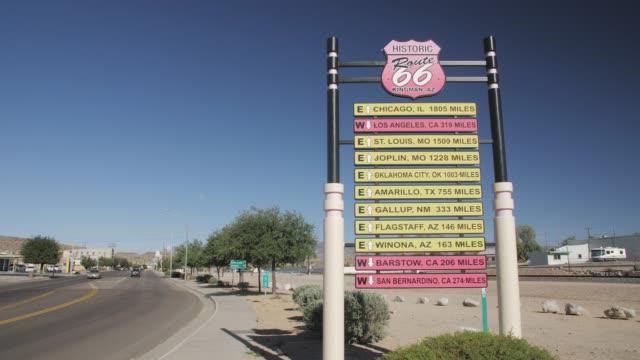 historic road sign on route 66, kingman, arizona, usa, america, united states, north america - kingman arizona stock videos & royalty-free footage