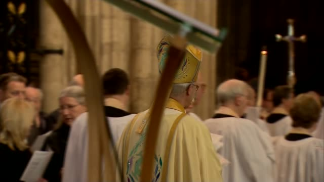 historic sex abuse allegations against church of england clergy 5th april 2015 kent canterbury canterbury cathedral int various of justin welby along... - archbishop of canterbury stock videos and b-roll footage