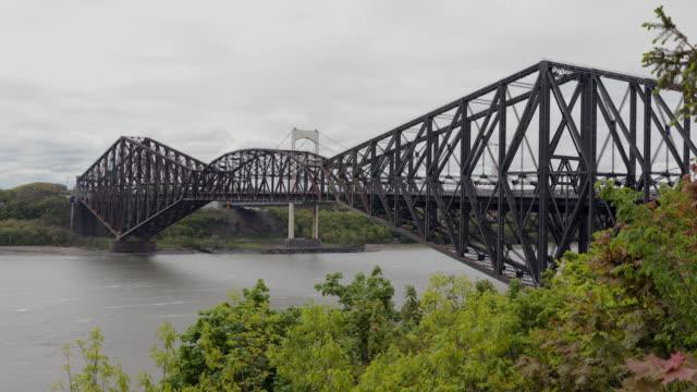 historic suspension bridge, quebec city, canada, saint-lawrence river - ship's bridge stock videos & royalty-free footage