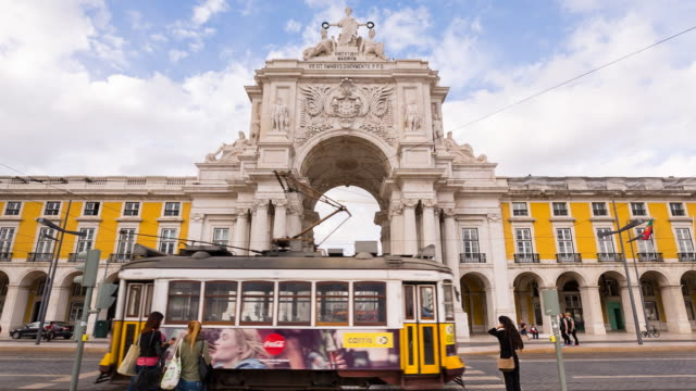 ms historic tram at praça do comércio square - lisbon stock videos and b-roll footage