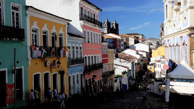 historical center of pelourinho in old salvador, brazil, south america - bahia state stock videos & royalty-free footage