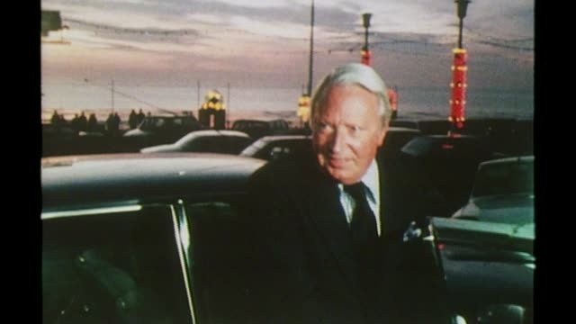 brothel madam 'denies sir edward heath claims' lib england lancashire blackpool heath from car as arriving to attend conservative party conference - bordell stock-videos und b-roll-filmmaterial
