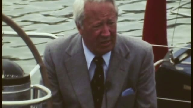 historical child abuse: edward heath child sex abuse allegations under police investigation; channel islands: jersey: ext edward heath sat on moring... - エドワード ヒース点の映像素材/bロール