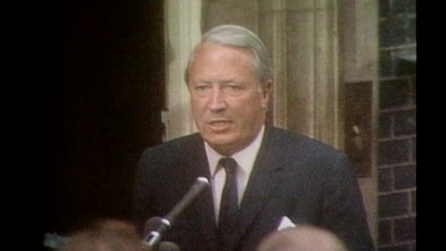 police watchdog to investigate claims of edward heath coverup lib / 1970 england london downing street ext edward heath mp speaking to press outside... - edward heath stock-videos und b-roll-filmmaterial