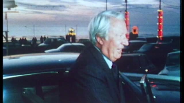 historical child abuse: police watchdog to investigate claims of edward heath cover-up; 8.10.1975 lancashire: blackpool: at night heath from car and... - エドワード ヒース点の映像素材/bロール