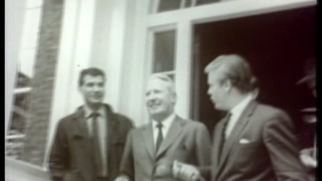 police watchdog to investigate claims of edward heath coverup 2371965 ext heath a candidate for the conservative party leadership leaving his home... - edward heath stock-videos und b-roll-filmmaterial